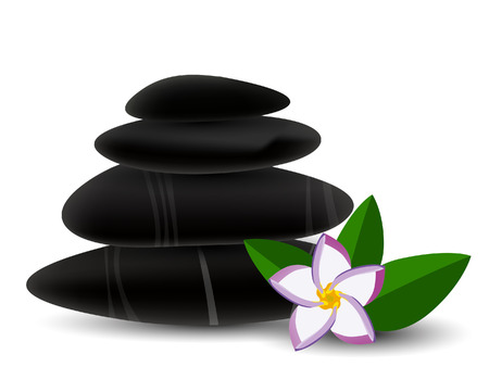 stacked stones: Spa stones and  frangipani flower