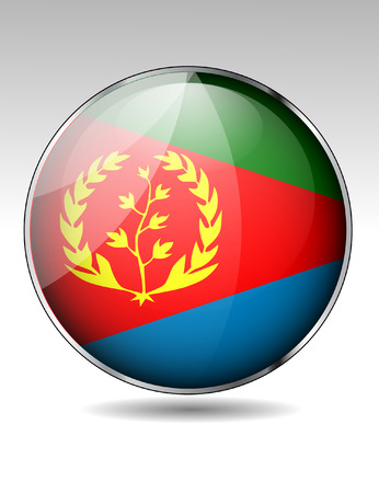 Eritrea flag button Vector