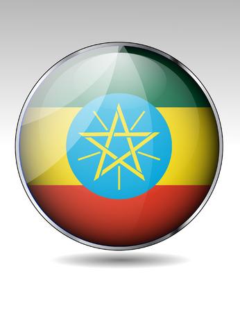 ethiopia flag: Ethiopia flag button Illustration