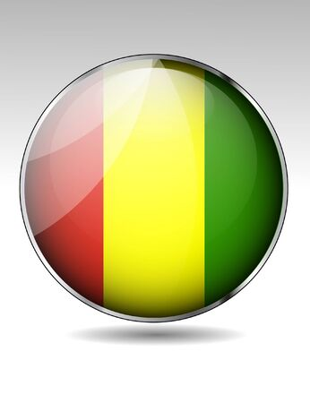 guinea: Guinea flag button Illustration