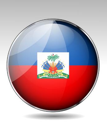 Haiti flag button Illustration