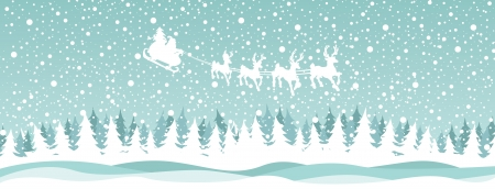 Santa reindeer over the forest
