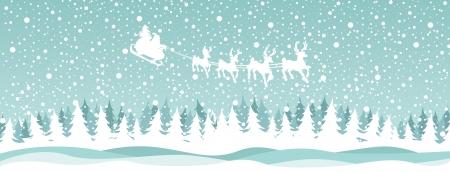 Santa rendieren over het bos