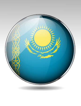 Kazakhstan flag button Stock Vector - 24056744