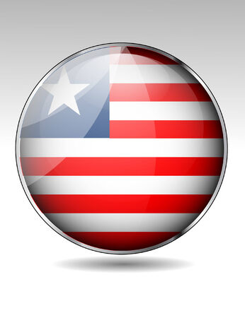 liberia: Liberia flag button Illustration