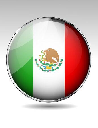 mexico flag: Mexico flag button Illustration