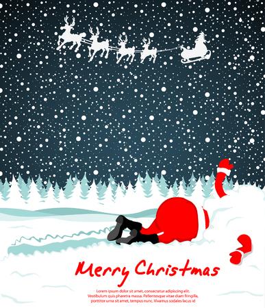 Santa crashed in snow Vector