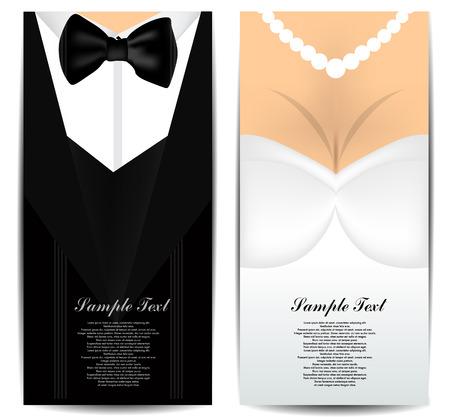 Bruid en Bruidegom visitekaartjes Stock Illustratie