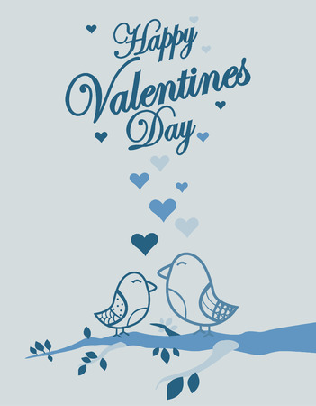 Cute birds Valentines Day background Vector