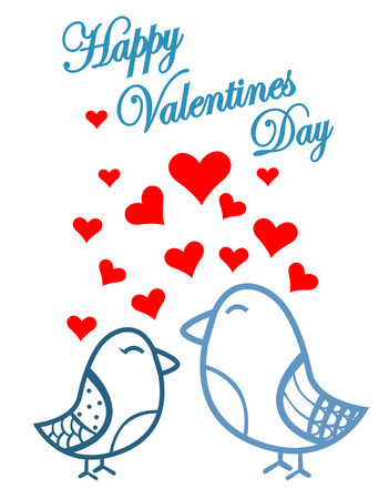 Cute birds Valentines Day Vector