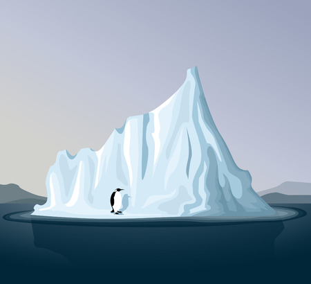 arctic: Iceberg with penguin