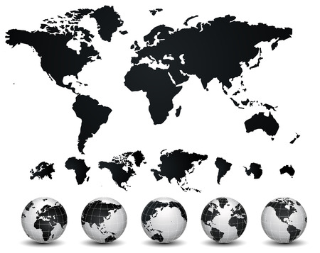 World Map and globe illustration  Ilustração