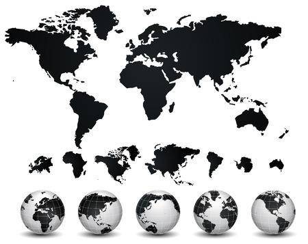 World Map and globe illustration Banco de Imagens - 25520549