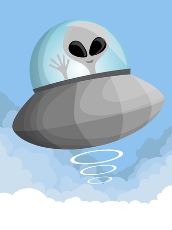 invader: Cute cartoon UFO in the sky Illustration