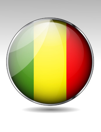 mali: Mali flag button Illustration