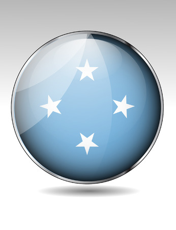 Federated States of Micronesia flag button Vector
