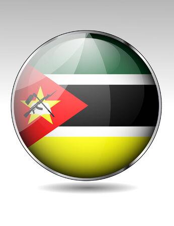mozambique: Mozambique flag button Illustration