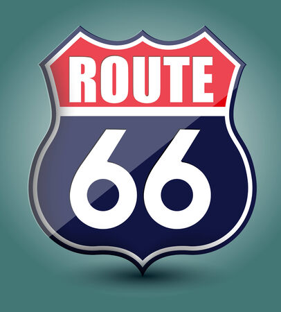 highway signs: Route 66 sign Illustration