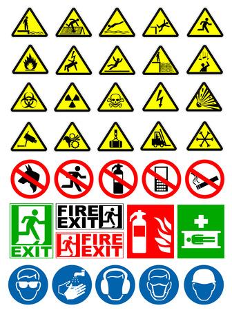 Veiligheid en waarschuwingsborden Stock Illustratie