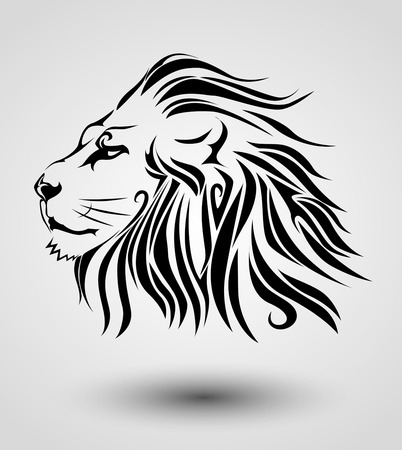 beauty and the beast: Tribal lion Illustration