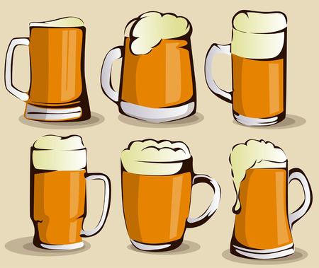 Beer mug set Illustration