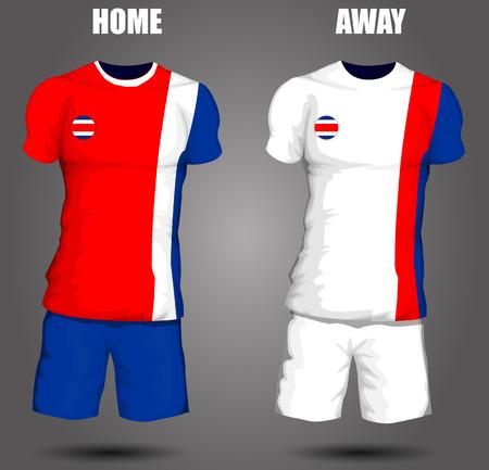 bandera de costa rica: Jersey de fútbol de Costa Rica Vectores