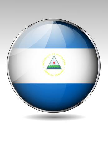 Nicaragua flag button Illustration