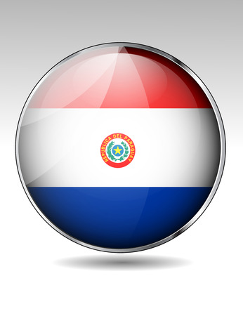 paraguay: Paraguay flag button Illustration