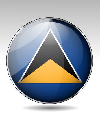 st lucia: St Lucia flag button Illustration