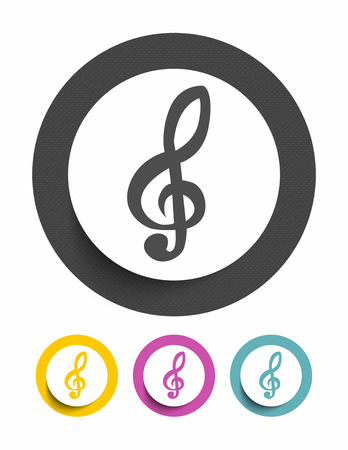 Treble clef. sign icon