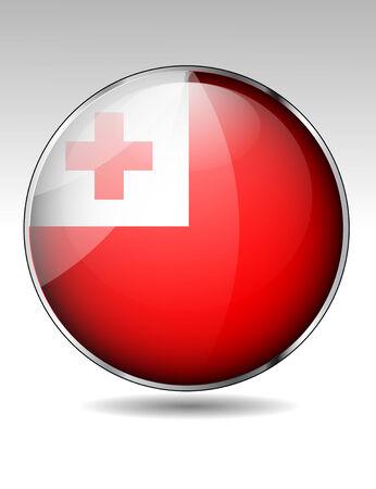 tonga: Tonga flag button Illustration