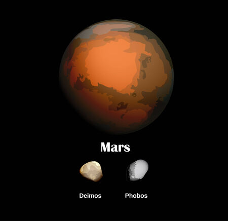 she: Mars and she moons Illustration