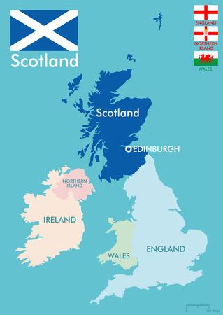 scotland flag: Scotland map Illustration