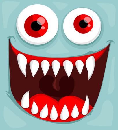 monster face: Cute monster face