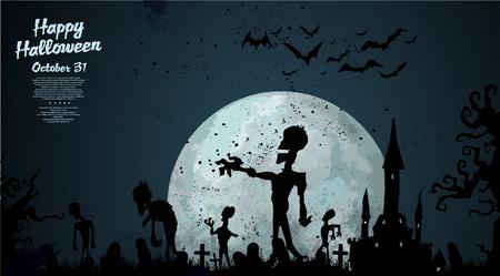 undead: Halloween zombie background Illustration