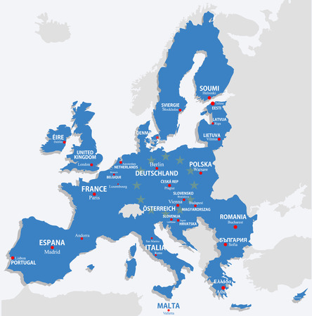 European Union map with all europe countries and capital name Ilustracja