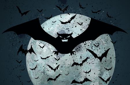 Grunge Halloween bat background Vector
