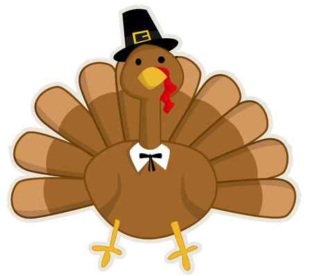 Leuke cartoon Thanksgiving kalkoen Stock Illustratie