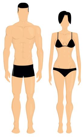 caucasians: L'uomo e il corpo della donna illustrazione Vettoriali