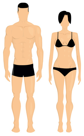 'fit body': Man and woman body illustration