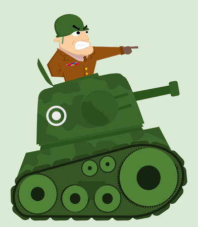Cartoon tank with army soldier Vector