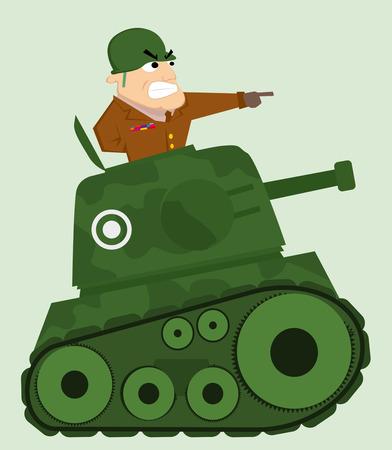 Tanque de la historieta con el soldado del ejército