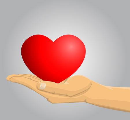 hand beats: Hand holding a red heart