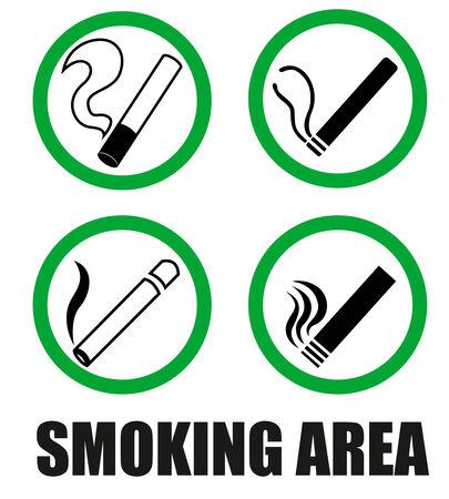 smoking area: Smoking area symbols Illustration