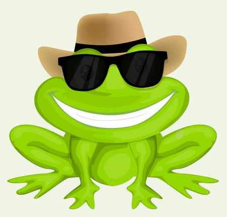 Cartoon frog in sunglasses Ilustracja