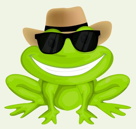 Cartoon kikker in zonnebril