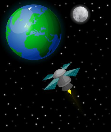 artificial satellite: Satellite in space Illustration