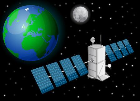 Satellite in space Ilustração