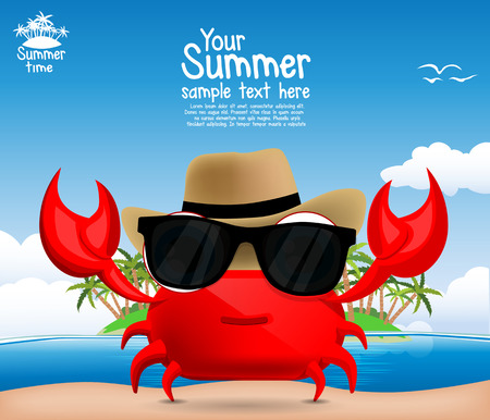Summer background with a cute cartoon crab Çizim