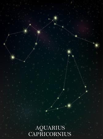 Aquarius and Capricornius constellation Ilustração